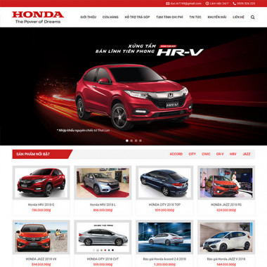 Theme Wordpress bán xe Honda