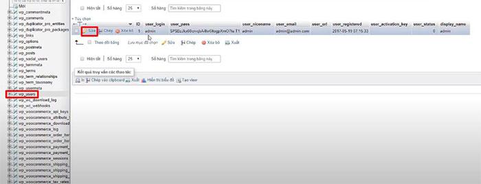 truy cập vào wp_user để chỉnh sửa password