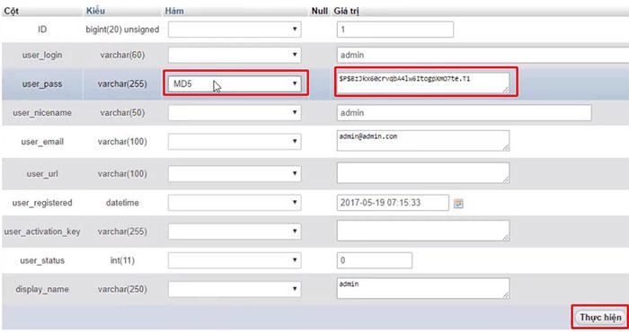 Các password trong wordpress đều dùng md5 để mã hóa