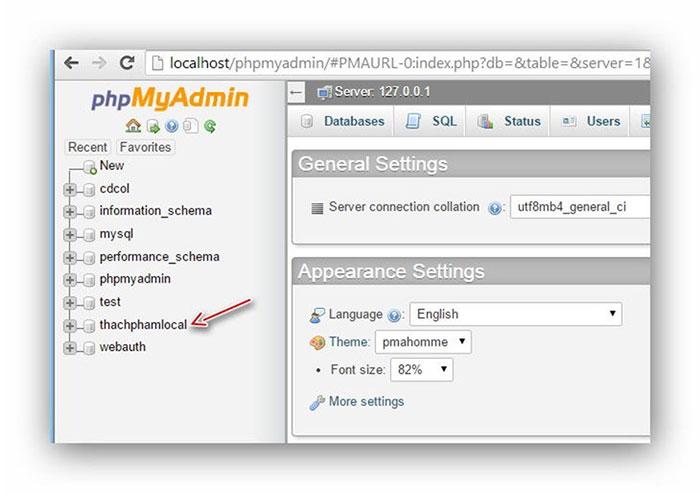 chọn database cần xuất trên phpMyAdmin localhost