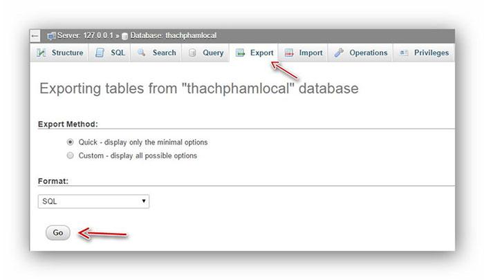 thực hiện xuất database từ localhost