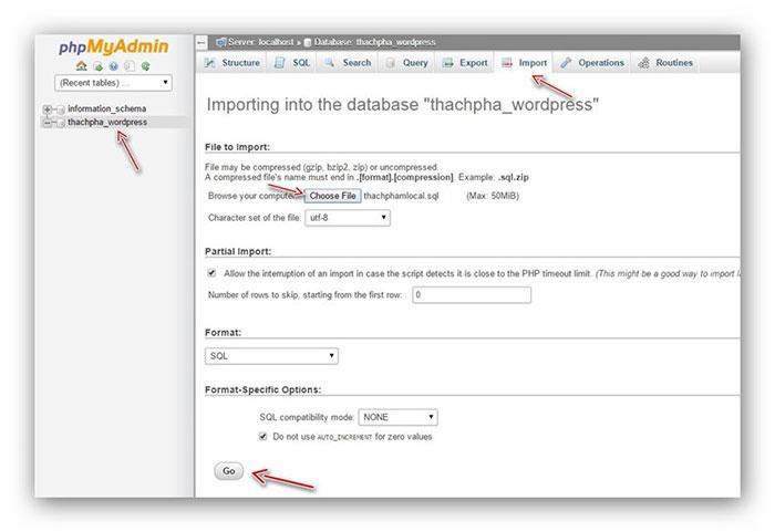 thực hiện import database mới vào host - chuyển website từ localhost lên host