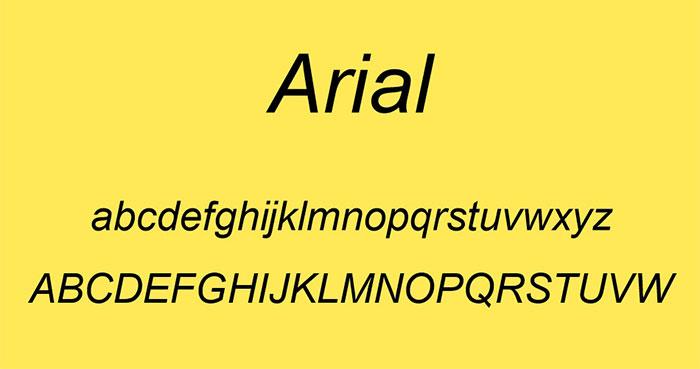 font chữ arial - font phổ biến dùng trong thiết kế website