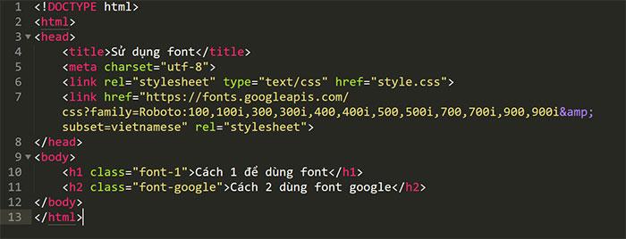 nhúng font google bằng html