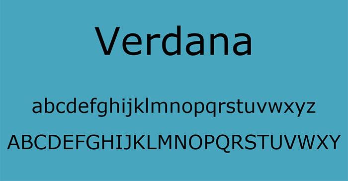 font chữ verdana