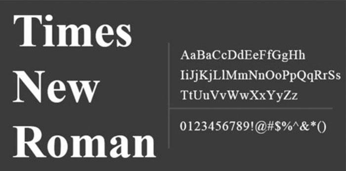font chữ có chân thông dụng times new roman trong thiết kế web