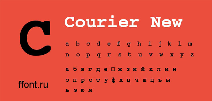 font chữ courier new - một trong những font phổ biến