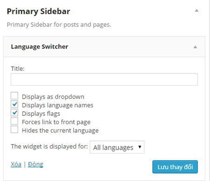 widget giúp hiển thị nút chuyển ngôn ngữ